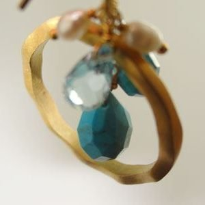Gold Hoop w/ Turquoise, Crystal and Pearl