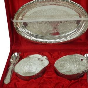 Silver Plated Set of 2 Bowls, 2 Spoon & Platter