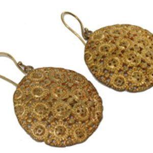 Gold Mesh Dangling Discs Earrings