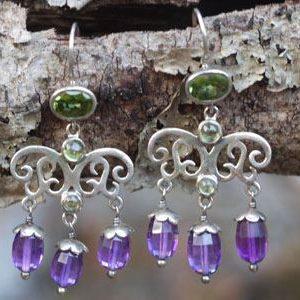 Amethyst and Peridot Silver Filigree Drop Earrings