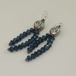 Silver and Blue crystal Earrings