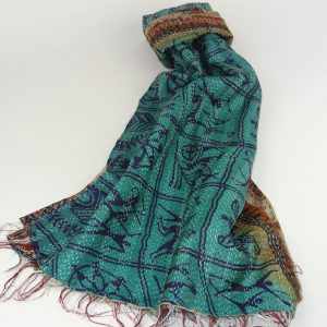 Kantha Silk Scarf/Stole in Blueish Green