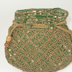 Green with gold beads – Pouch…dressy