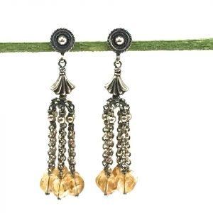 Multi Chain Silver & Citrine Drop Chain Earrings