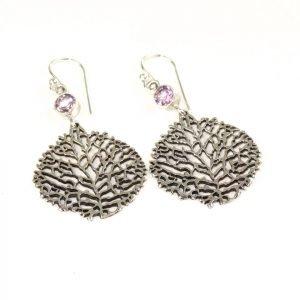 Silver and Amethyst Net Drop Leaf Earrings