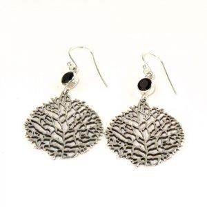 Earrings – net look Silver & Black Stone