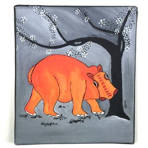 Animal Hippo Tingatinga Painting