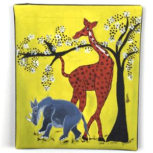 Animal Giraffe Tingatinga Painting